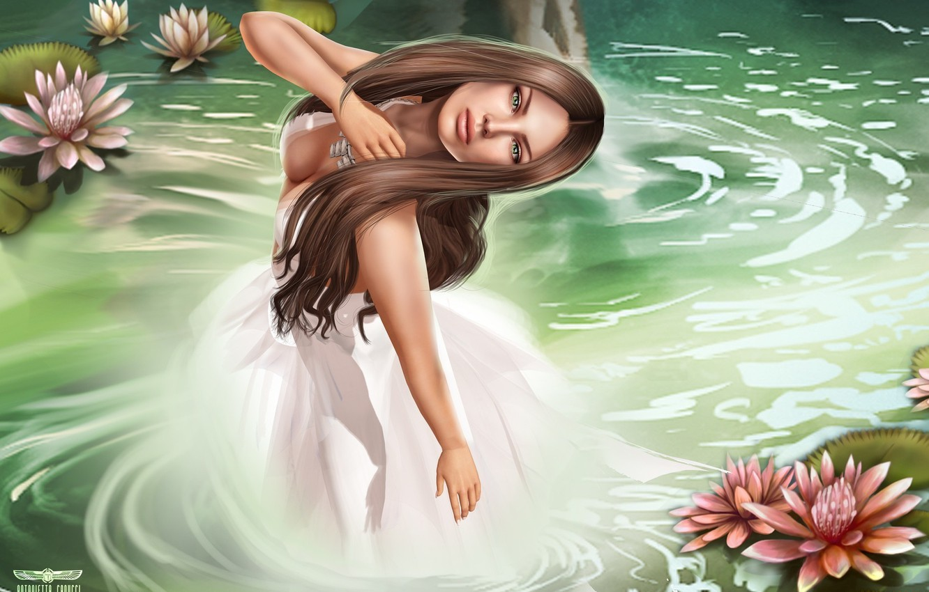 Photo wallpaper water, girl, Lily