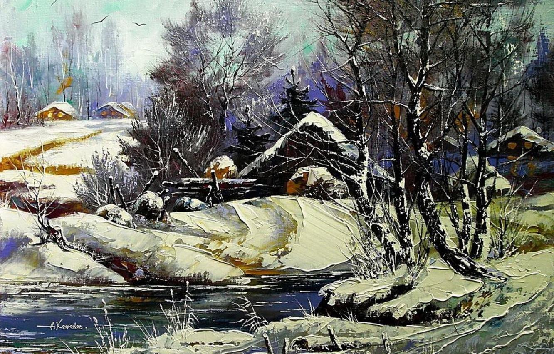 Photo wallpaper winter, snow, landscape, river, home, picture, village, day, painting, farm, Khodukov, spatula