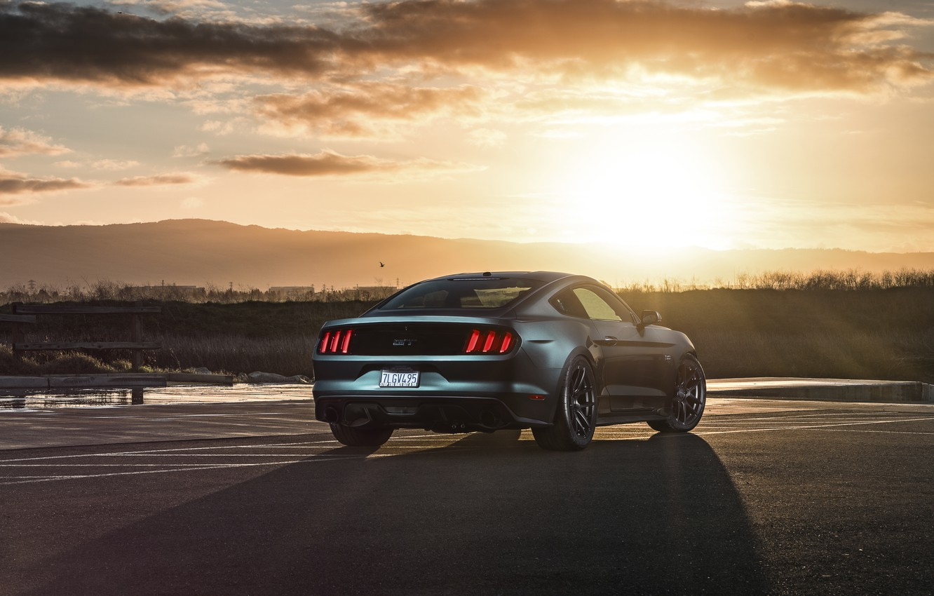 Photo wallpaper Mustang, Ford, Muscle, Car, Sunset, Wheels, Rear, 2015, Velgen, Beam