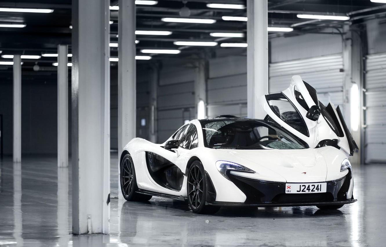 Photo wallpaper McLaren, White, Supercar, 2014, Door, Underground Parking