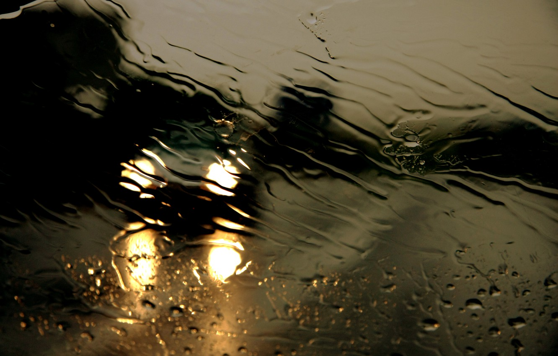 Photo wallpaper road, glass, water, drops, night, rain, the shower, threads