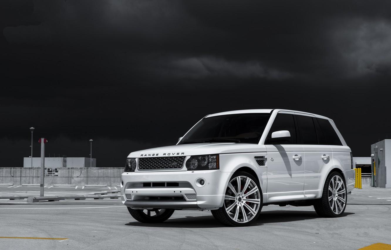 Photo wallpaper white, the sky, sport, white, side view, land rover, range rover, range Rover, land Rover