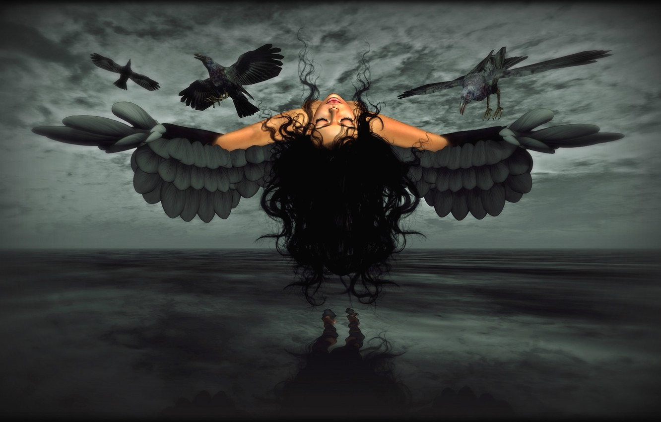 Photo wallpaper girl, wings, crows