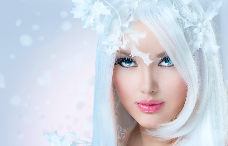 Photo wallpaper look, girl, eyelashes, background, blonde, lips, long