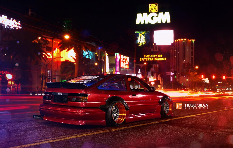 Photo wallpaper Red, Toyota, Las Vegas, AE86, Stance, Wheels, Corolla, Rear, Nigth, by Hugo Silva