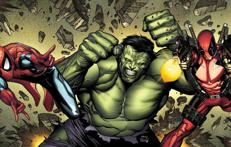 Photo wallpaper weapons, anger, ninja, Hulk, swords, comics, spider-man