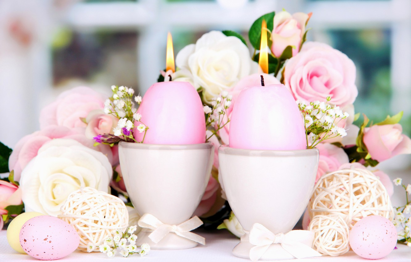 Photo wallpaper roses, eggs, candles, Easter, flowers, Easter, candles