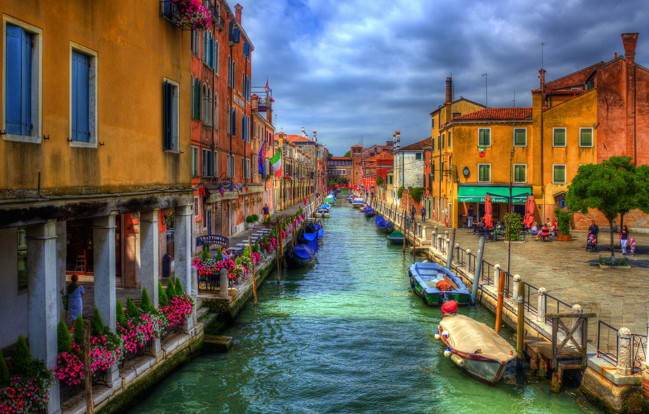 Photo wallpaper the sky, water, flowers, clouds, home, Venice, channel, street, Venice