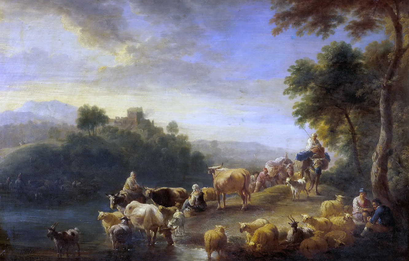 Photo wallpaper animals, trees, river, picture, Adrian Frans Boudewyns, Landscape with Cows