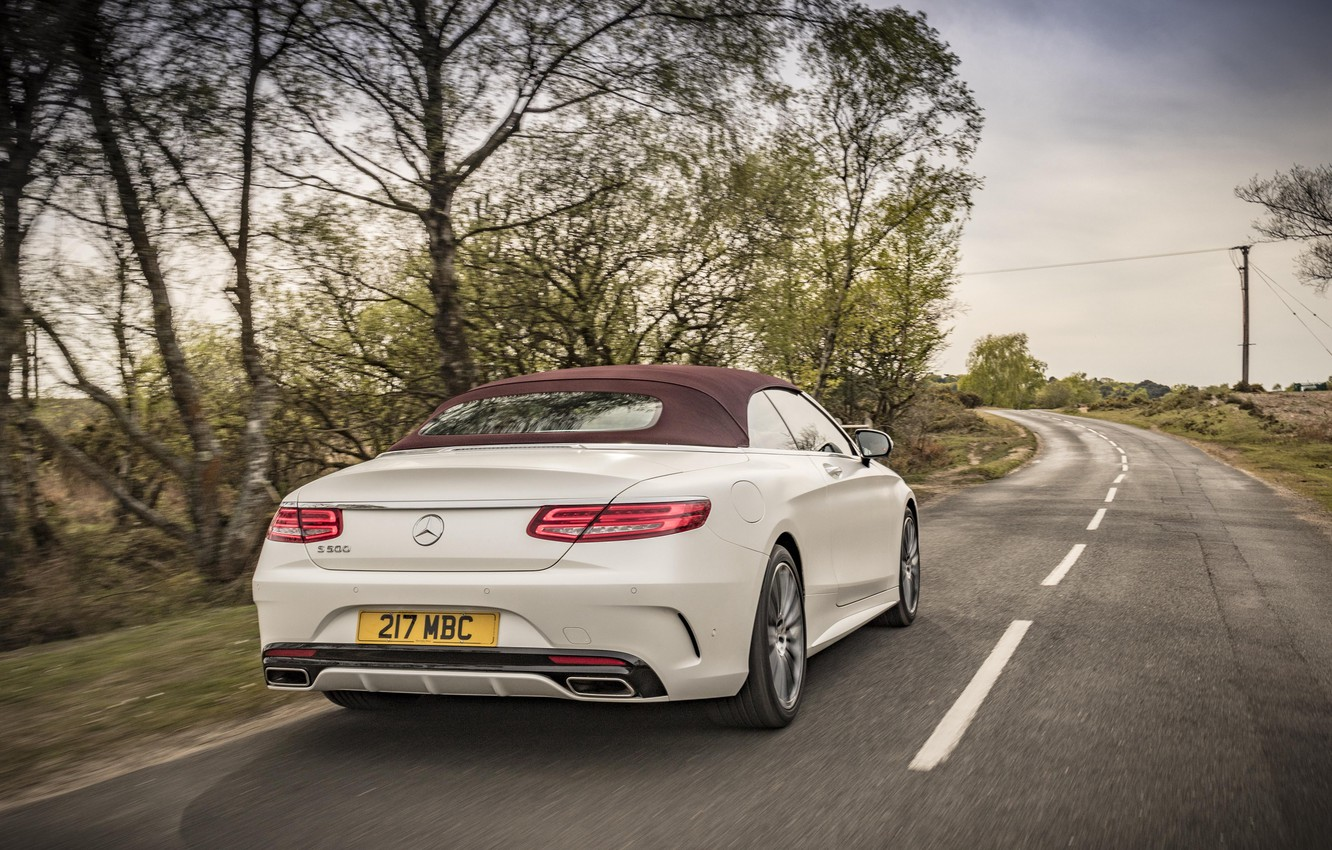 Photo wallpaper auto, Mercedes-Benz, speed, Mercedes, back, AMG, Cabriolet, exhausts, S 500, AMG line