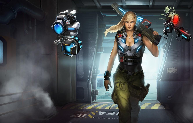 Photo wallpaper weapons, fiction, robots, art, girl. look, Gemini