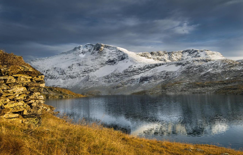 Photo wallpaper winter, snow, mountains, nature, lake