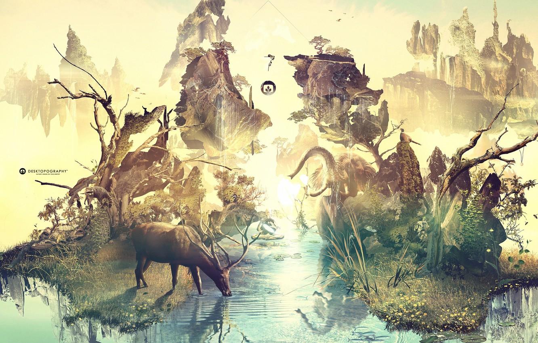 Photo wallpaper trees, creative, rocks, elephant, deer, raccoon, emblem, drink, desktopography, water lilies