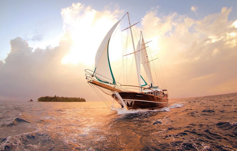 Photo wallpaper sea, water, the sun, clouds, sunset, ship, sail