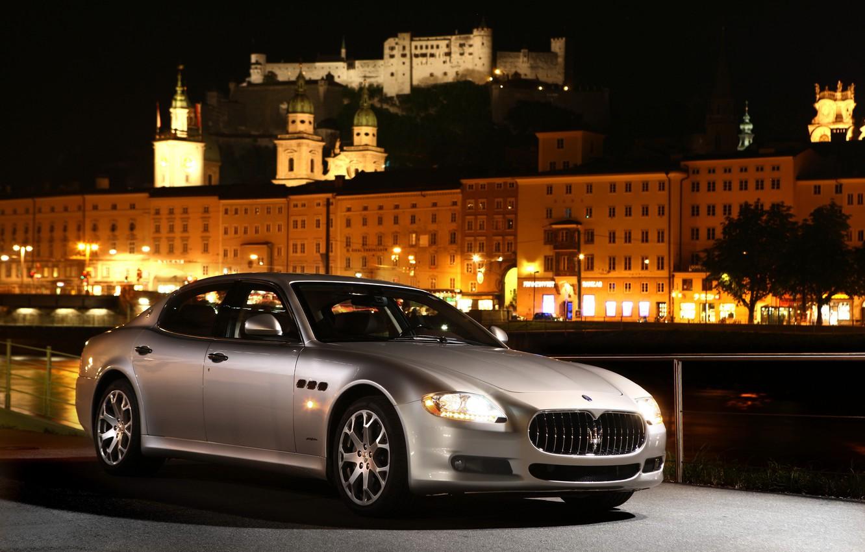Photo wallpaper machine, night, Maserati, silver, Quattroporte S