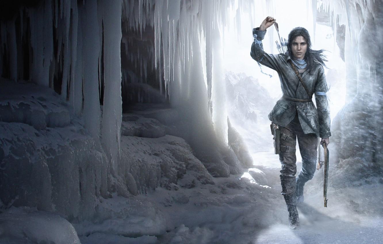 Photo wallpaper girl, snow, bow, cave, Lara Croft, arrows, Square Enix, Lara Croft, Crystal Dynamics, Eidos Montreal, …