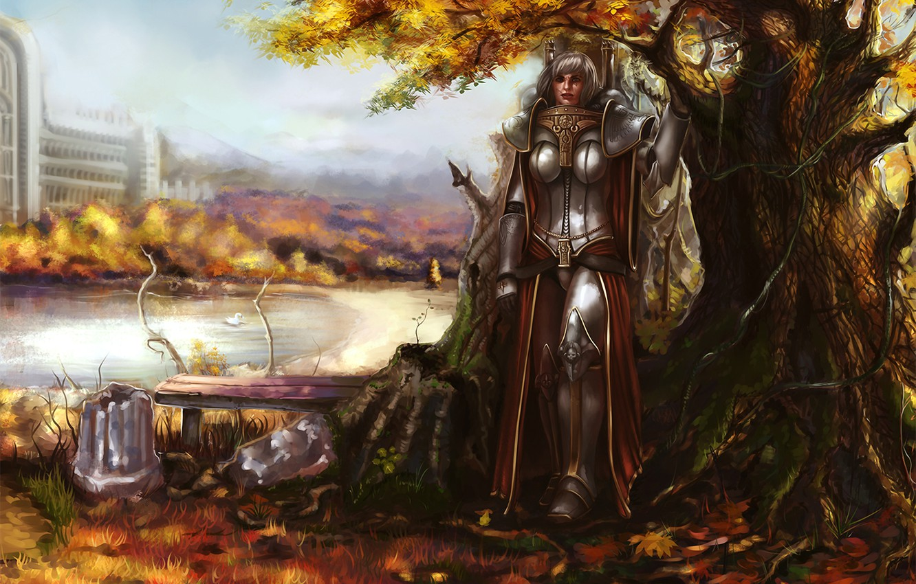 Photo wallpaper autumn, leaves, girl, bench, pose, pond, tree, armor, Warhammer, Sisters of Battle