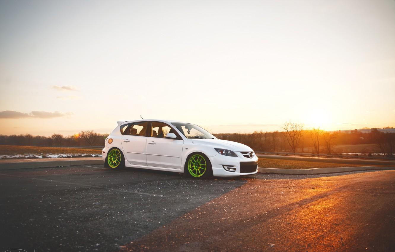 Photo wallpaper tuning, white, Speed, Mazda 3, tuning, Mazda