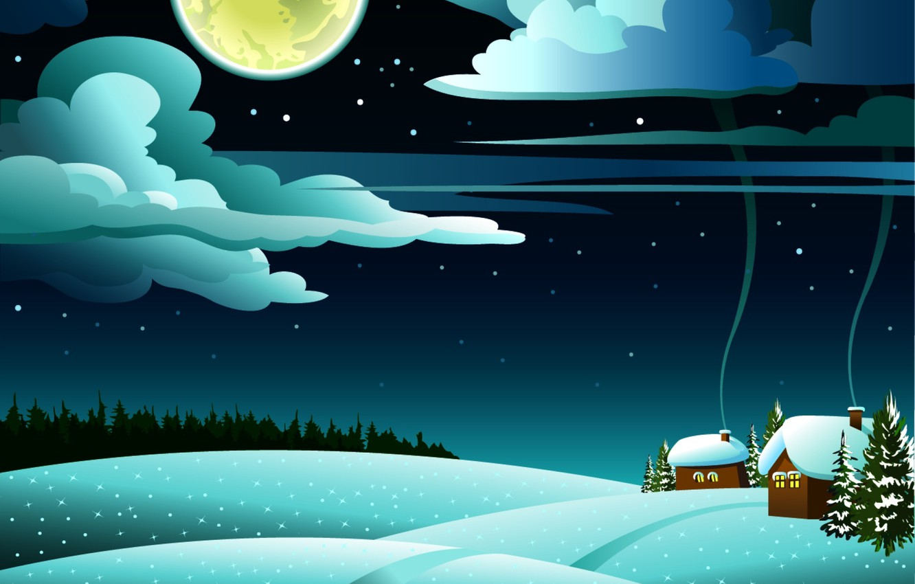 Photo wallpaper forest, clouds, snow, landscape, hills, houses, the full moon, tree, smoke