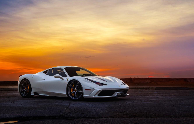 Photo wallpaper Ferrari, Sky, 458, Sunset, White, Italia, Supercar, Speciale