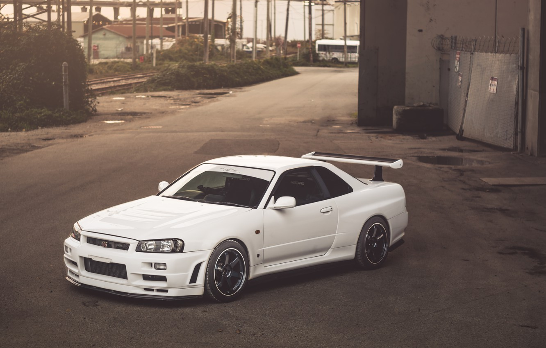 Photo wallpaper Nissan, White, Skyline, R34, GT