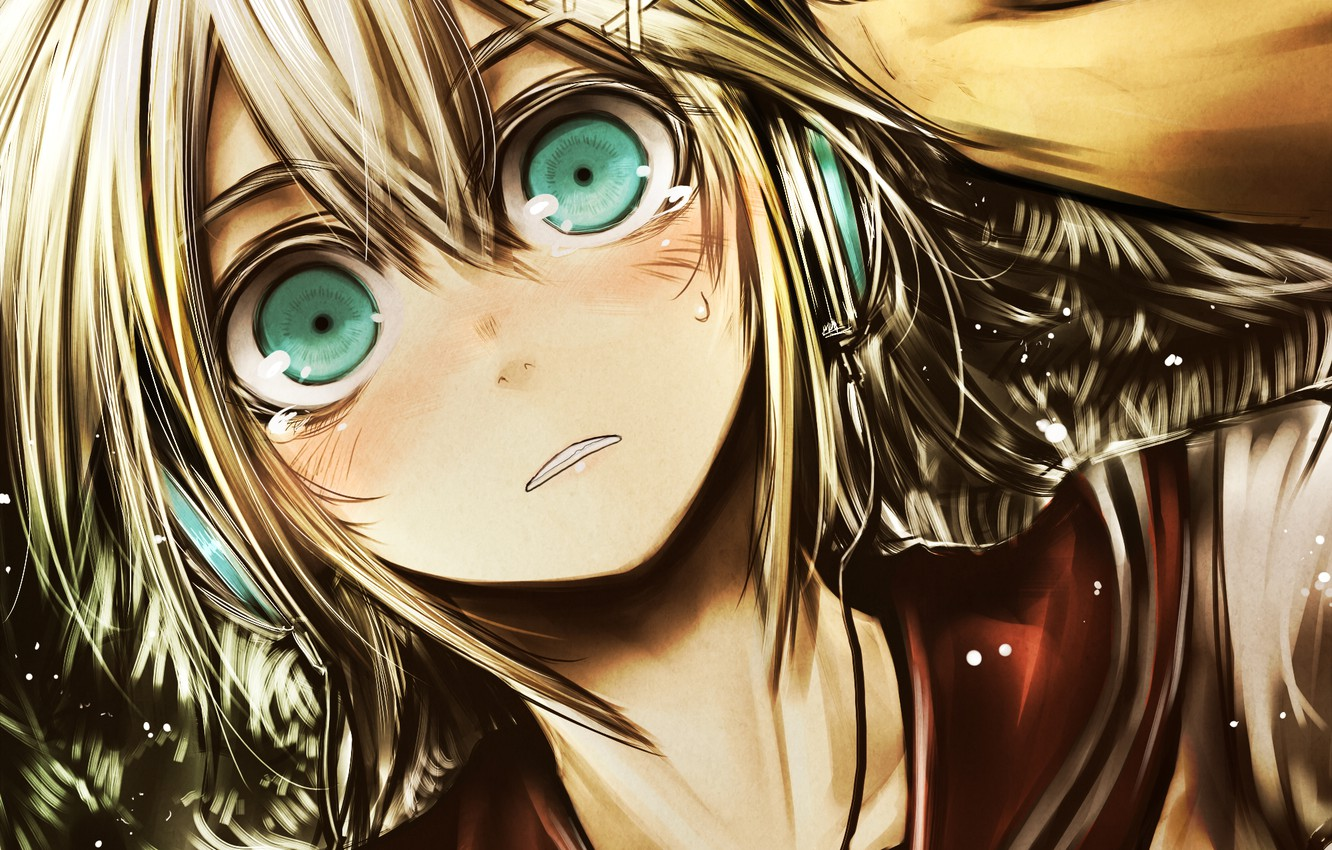 Photo wallpaper eyes, girl, hand, anime, headphones, tears, art, kotoba noriaki