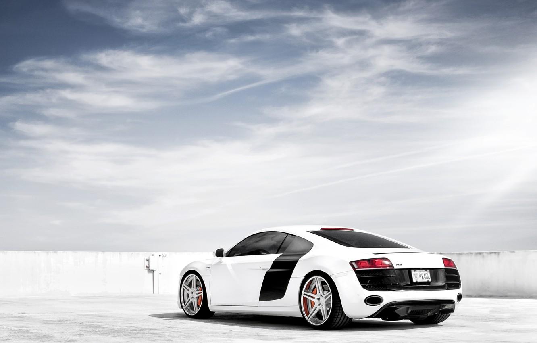 Photo wallpaper white, the sky, Audi, Audi, tuning, supercar, drives, rear view, tuning, V10, B10