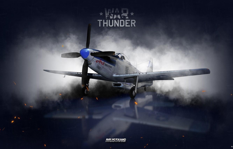 Photo wallpaper the sky, clouds, fighter, Art, American, War Thunder, hibikirus, BBC America, P-51H