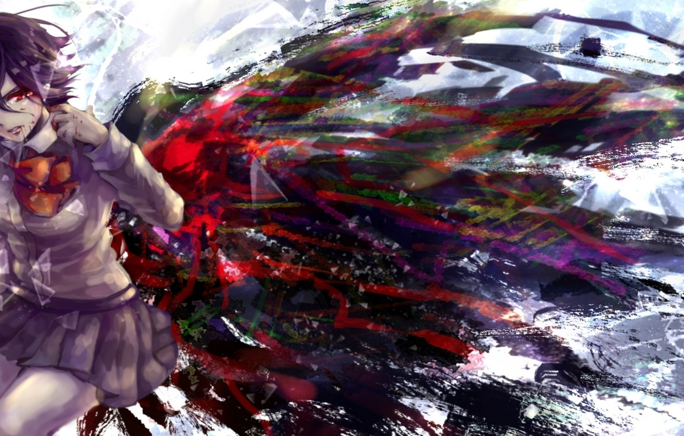 Tokyo Ghoul Touka Kirishima Wings Blood Crying: Wallpaper Blood, Wings, Anime, Tears, Art, Form