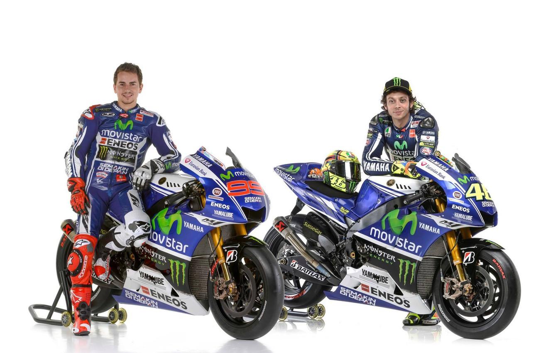 Photo wallpaper motogp, Valentino Rossi, Jorge Lorenzo, 2014 yamaha