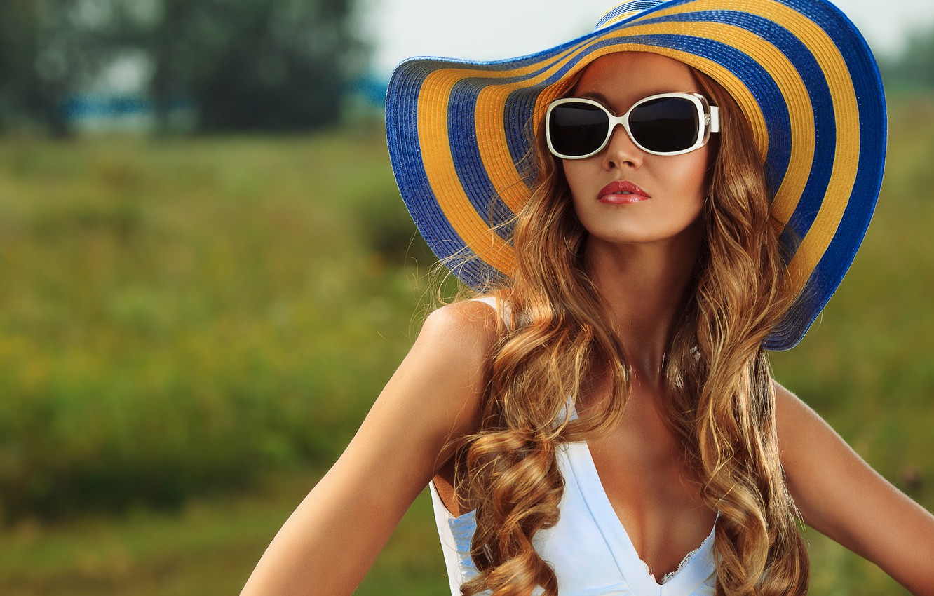 Photo wallpaper summer, girl, face, hat, glasses, brown hair, beautiful, tanned