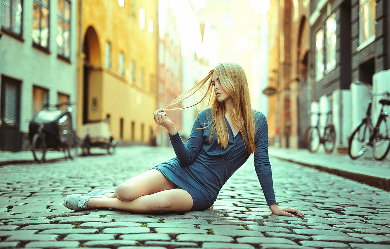 Photo wallpaper girl, street, dress, legs