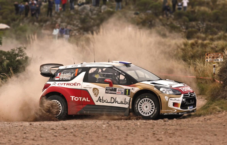 Photo wallpaper Auto, Dust, Sport, Machine, Turn, Citroen, Skid, Citroen, DS3, WRC, Rally, Rally, Side view