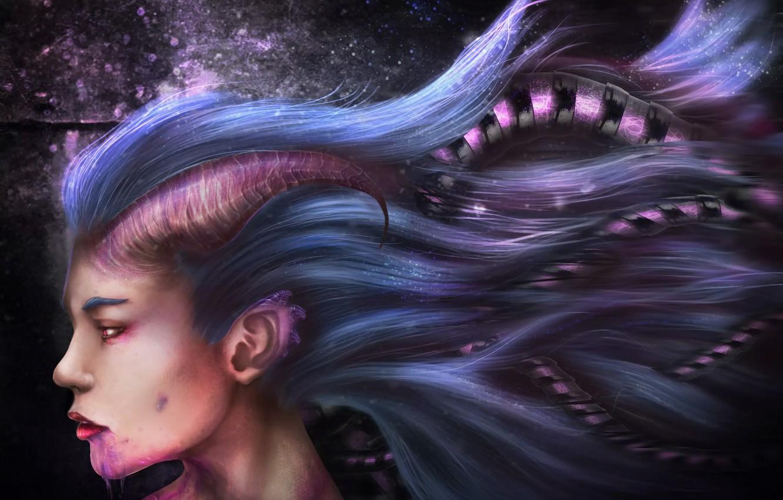 Photo wallpaper girl, face, hair, profile, Art, art