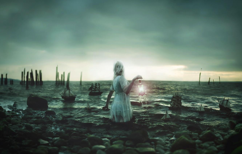 Photo wallpaper sea, girl, lantern, boats