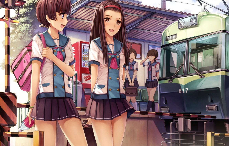Photo wallpaper the sky, joy, girls, train, anime, art, form, Schoolgirls, yokaze japan, about the cloud