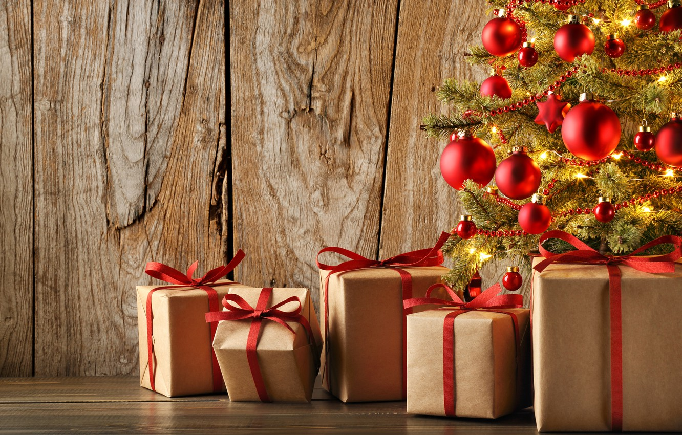 Photo wallpaper new year, Christmas, gifts, tree
