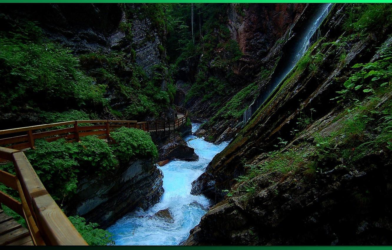 Photo wallpaper river, trail, gorge