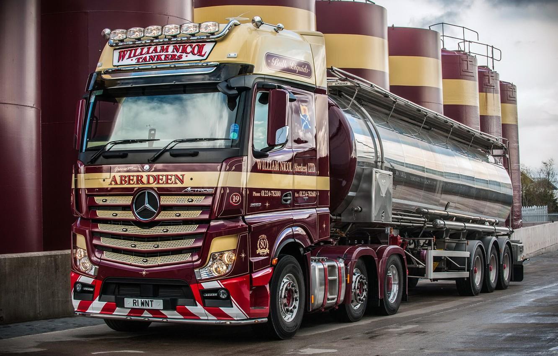 Photo wallpaper plant, Mercedes-Benz, truck, Mercedes, 2011, tank, UK-spec, Actros, machinery
