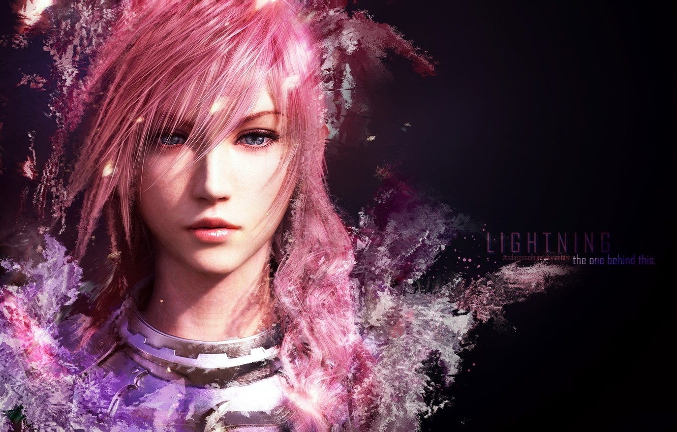 Wallpaper face, black background, Final Fantasy, Lightning