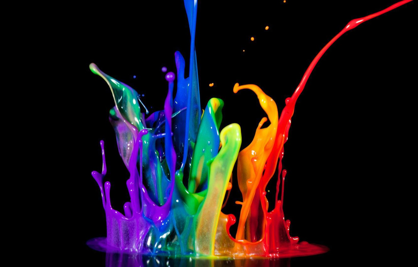 Photo wallpaper color, paint, bursts, black background