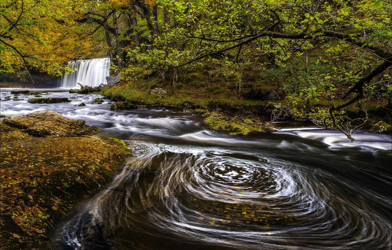 Photo wallpaper river, autumn, waterfall, Wales, Sgwd Nonsense Top, Upper Gushing falls