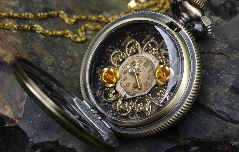 Photo wallpaper stone, watch, key, dial, chain