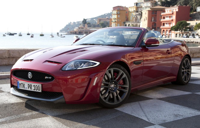 Photo wallpaper red, shore, Jaguar, home, yachts, Jaguar, supercar, convertible, the front, Convertible, XKR-S