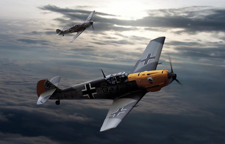Photo wallpaper the sky, clouds, figure, Messerschmitt, aircraft, The second world war, Bf.109, Messerschmitt