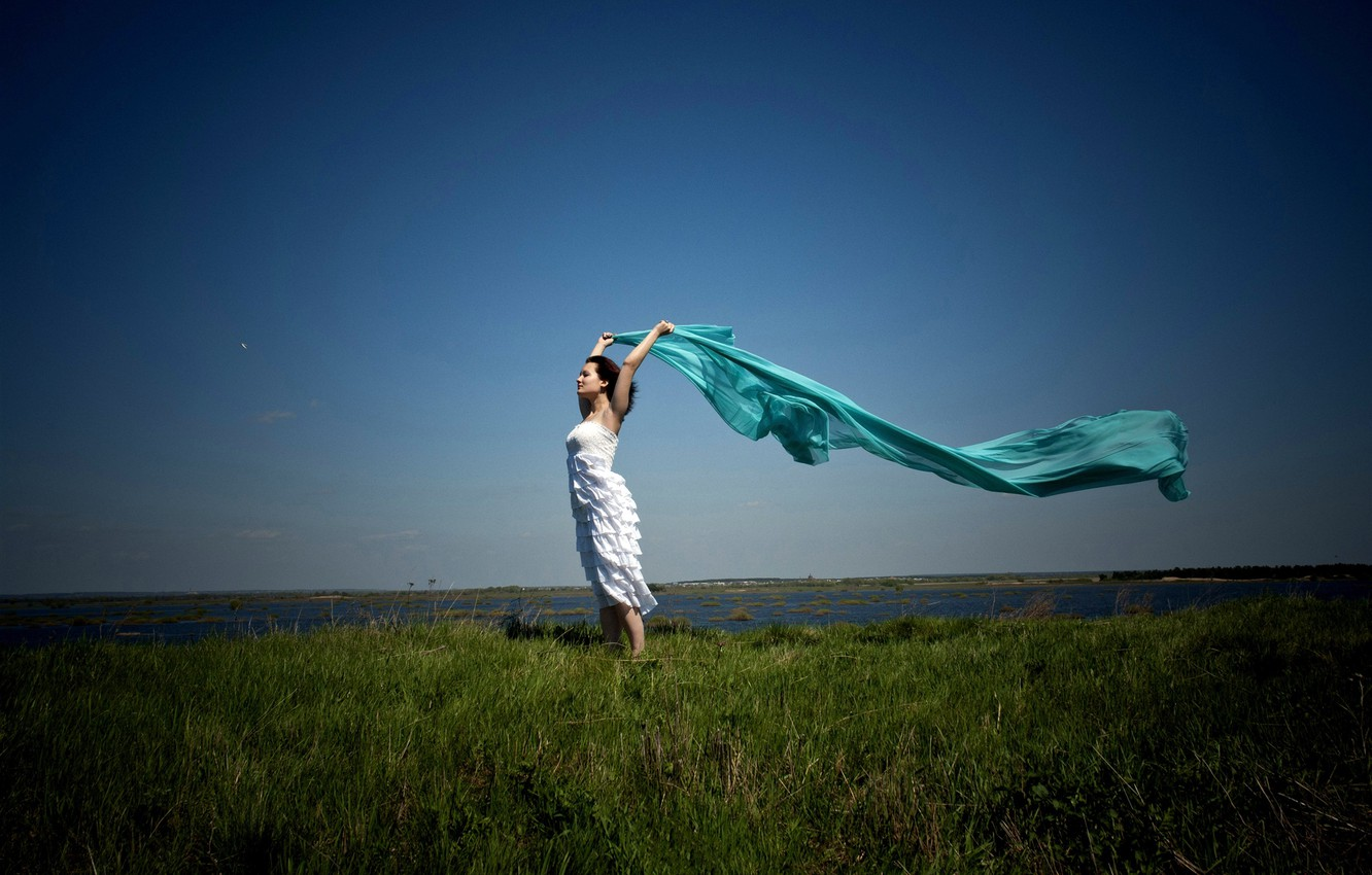 Wallpaper Background Grass Horizon The Sky Dress Brown Hair Fabric Green Lake The Wind Space Shawl Images For Desktop Section Devushki Download