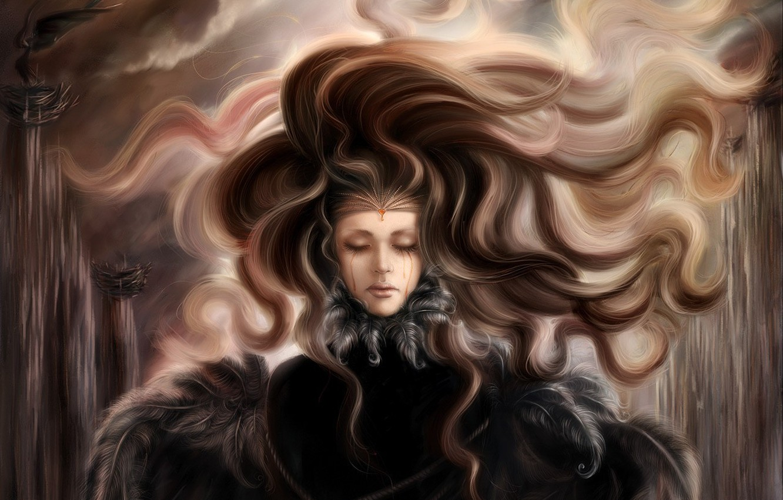 Photo wallpaper sadness, figure, Hair