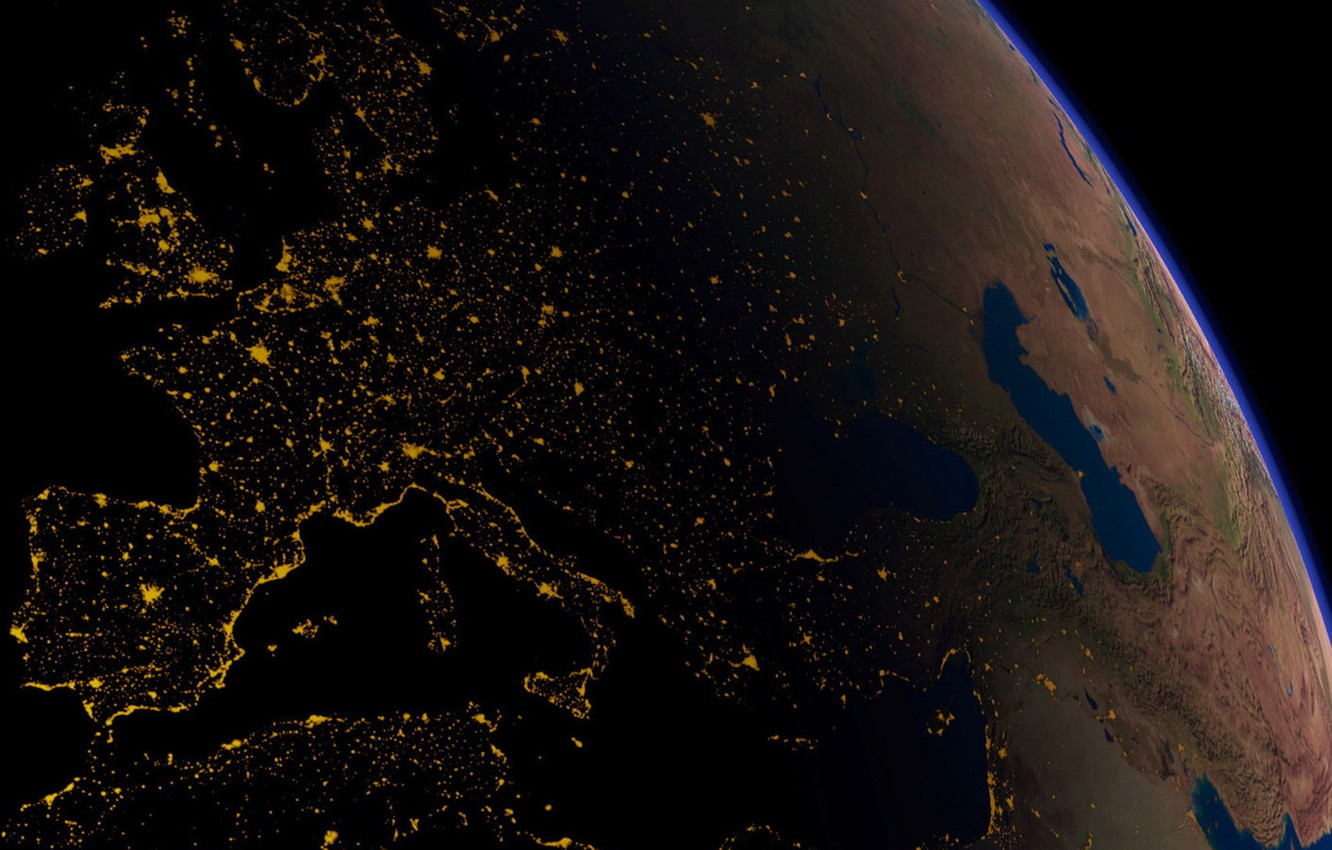Photo wallpaper space, night, lights, darkness, earth, planet, Italy