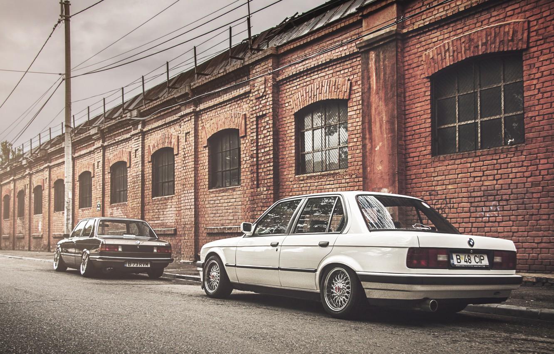 Photo wallpaper BMW, coupe, BMW, black, white, sedan, E30, The 3 series, E21
