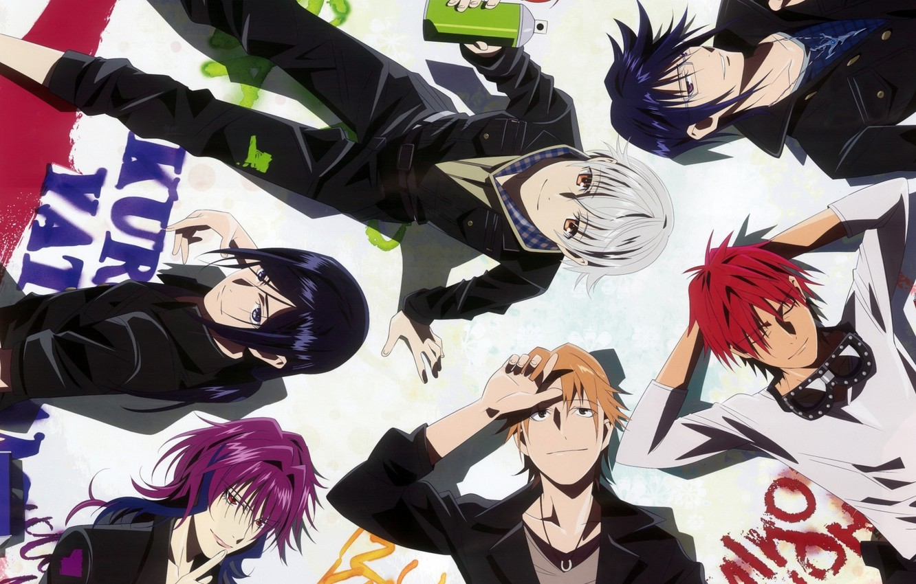Photo wallpaper red, blue, Project Key, Yata Misaki, Misaki YATA, K Project, Munakata Reishi, Mikoto Suoh, Fushimi, …